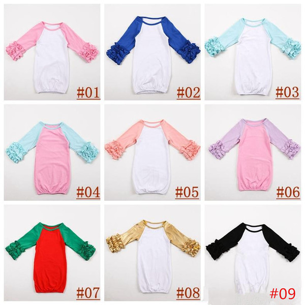 18colors Infant sleep clothing Baby girl boy Cotton Gowns Ruffle Gown Long Sleeve sleep bag for infant boutique clothing romper 0-2T