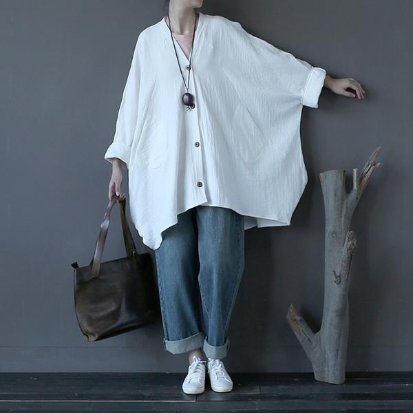Venta al por mayor- Algodón Lino Sólido Rojo Blanco Tallas grandes Mujeres Abrigos Diseño novedoso Sobresaliente Escudo suelto Otoño Mujeres Vintage Tops Femme A129