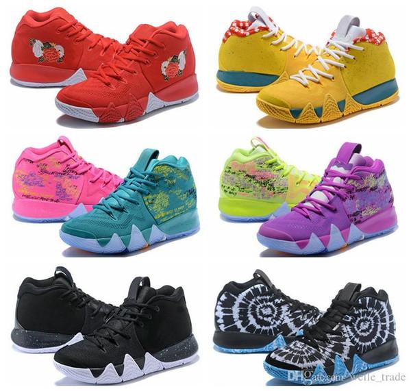 Neue Ankunft 4 s Kyrie IV Glücksbringer Männer Basketball Schuhe Männer Top Qualität Irving 4 Konfetti Farbe Grün Designer Trainer aus Turnschuhe