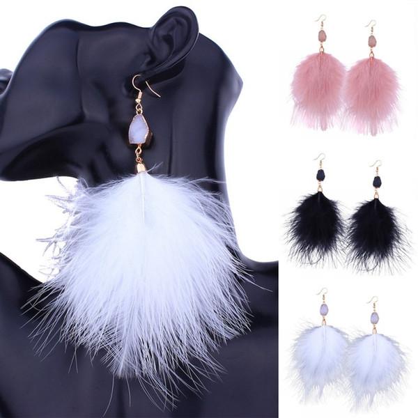 201803 New Long Drop Stone Beads Earrings Nappa lunga oro Piuma Orecchini per le donne Gioielli da sposa Pom Pom Orecchini G346Q
