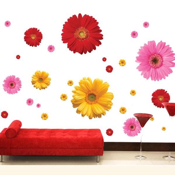 ome decor stickers Colorful Flower Floral Wall Stickers Living Room Bedroom Wall decals Home Decor Sticker Kitchen mural Wedding Decorati...