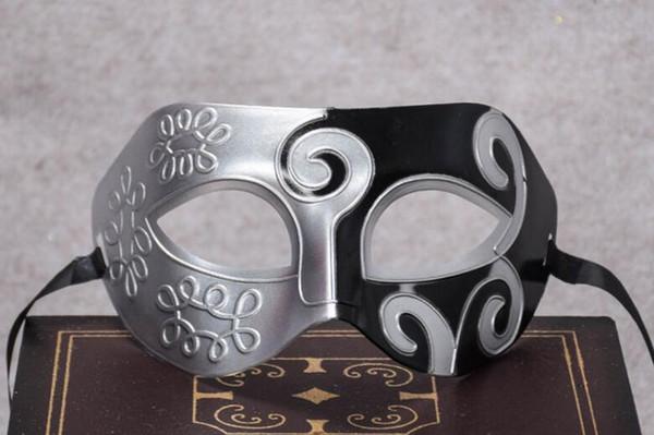 Sliver Black Half Faces Mask For Men Roman Gladiator Mask Venetian Mardi Gras Masquerade Halloween Costume Party Maks