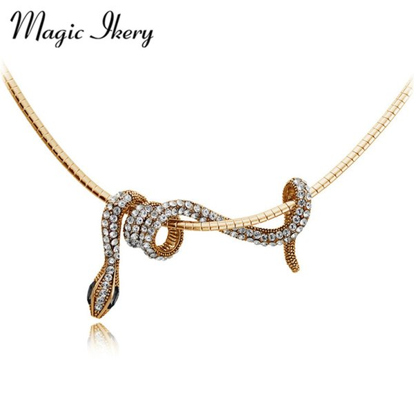 fashion Magic Ikery Gold Color Long Animal Snake Pendants Necklace Fashion for Women Statement Party jewelry MKY2965
