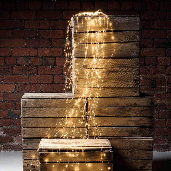 Großhandel 2Mx10 200 LED Fairy Reben Kupferdraht Zweig LED String Licht Weihnachtsbaum Zweig Kupfer Fairy Licht mit Adapter