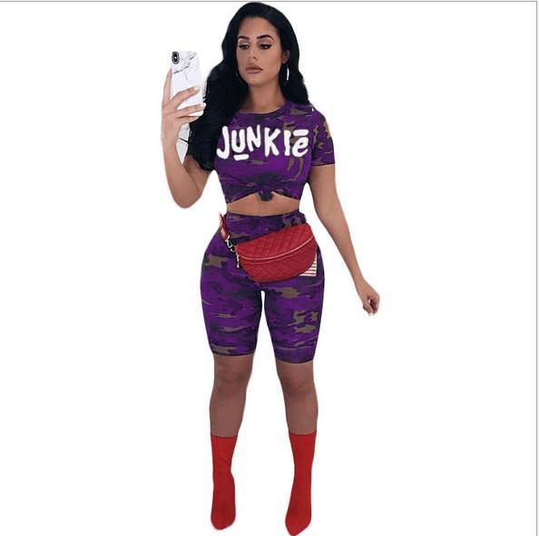 Mulheres Gilrs Junkie Carta Camuflagem Sportsuit Manga Curta T-shirt Tops de Culturas + shorts 2 pcs set Roupa Sexy Amercia Bandeira Camo Ginásio roupas