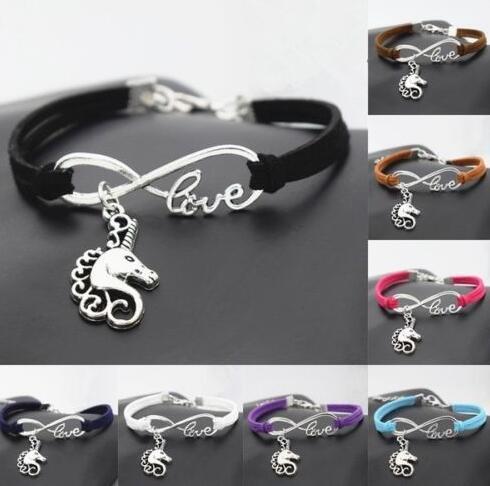 Vintage Silver Love Infinito Unicornio Cabeza de Caballo Charm Bracelet Bangle Para Las Mujeres de Color Mezclado Cuerda de Terciopelo Pulsera Accesorios de La Joyería 10 unids