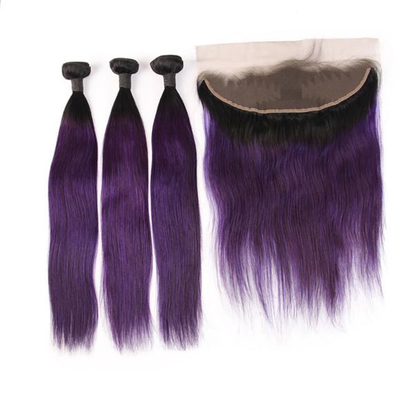 3 İnsan Saç Demetleri Ile 13 * 4 Frontal Düz 1B mor Renk İnsan Saç Uzantıları 8-28 Inç Remy Saç
