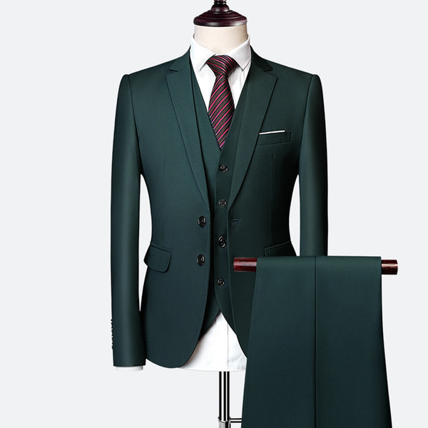 Hunter Green Men Suits Tailored Wedding Suits Notched Lapel Groom Tuxedo Blazer Jacket Slim Fit 3 Pieces Best Man Prom Suit Evening Party