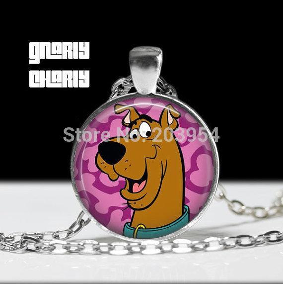 Steampunk handmade movie Scooby Doo Necklace 1pcs/lot bronze sier Glass Pendant jewelry dog 2017 mens womens wedding gift lady