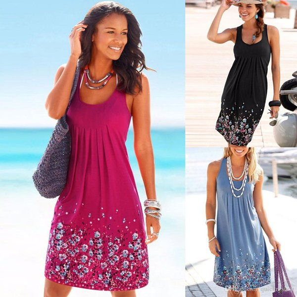 New Cotton Women Sleeveless Sundress Floral Print Casual Party Slim Mini A-line Dress