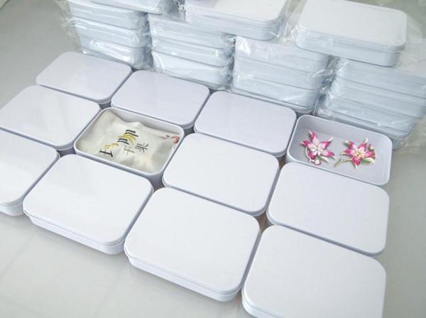 200pcs 110X80X25mm Rectangle white tea tin box mint pill candy jewelry storage box free shipping