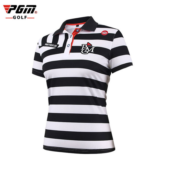 2018 Pgm Women Golf Polo T Shirt Striped Sportswear Tops Breathable Ultra-Thin Golf Shirts Outdoor Comfortable Apparel D0353