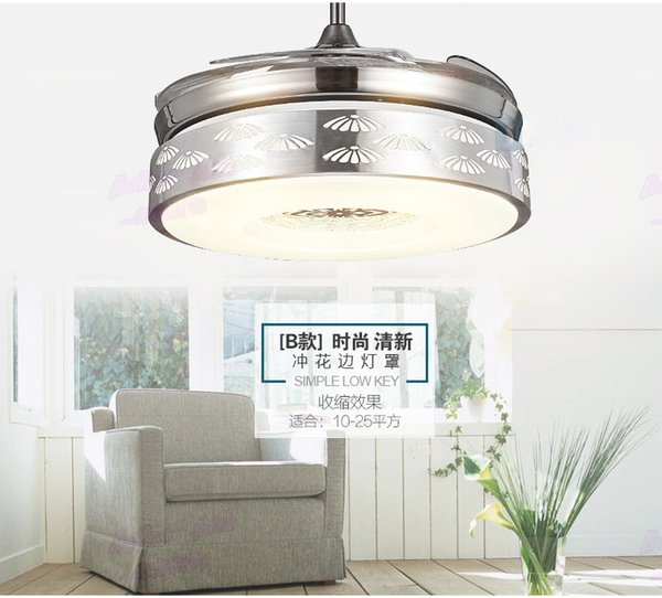 4 Color Changing light Modern LED invisible ceiling fan light remote control ceiling lamp 90cm 48W / fan 60W.