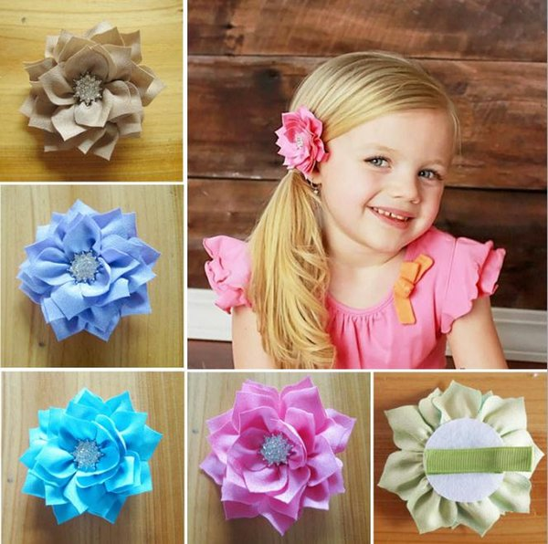 30pcs Drill Flowers Fabric Multilayer Diamond Flower For Baby Kids Hairpin Girls Hair Clips Baby Hair Accessories