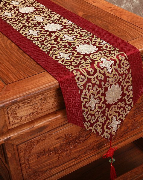 Chinese knot Cheap Long Damask Table Runners Patchwork Wedding Dinner Party Table Decoration Mat Silk Satin Table Cloth 230x33cm