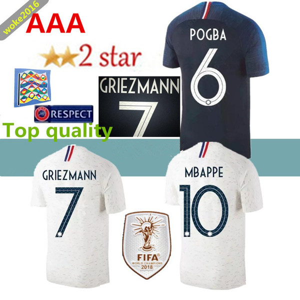 best website 54834 1863f 2018 New 2018 French Football Jersey World Cup Champion 2 Star Mbappe  Giroud Griezmann Pogba Dembele Tolisso Kante Matuidi Patch Football Shirt  From ...
