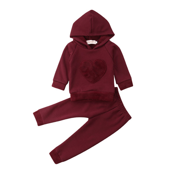 2Pcs Newborn Toddler Baby Boys Girl Red Heart Sunsuit Set Kids Girls Cotton Hooded Sweatshirt Tops Long Pants Outfit Set Clothes