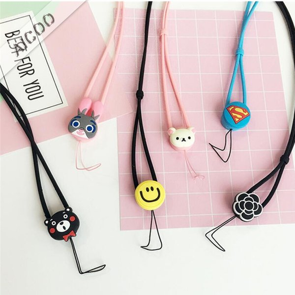 Universal High Elasticity Silicone Waterproof Lanyard Neck Strap Cute Cartoon For Mobile Phone Chain Rope MP3 Player Lanyard OPP