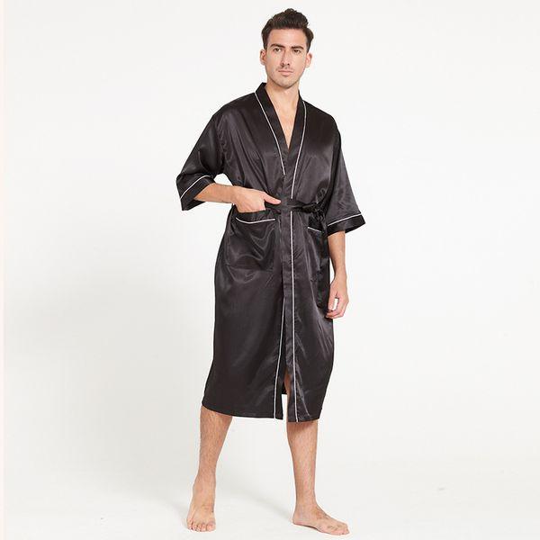 Acheter Sexy Kimono Hommes Soie Pyjamas Doux Satin Mâle Peignoir à Manches Mi Longues Peignoir Homme Chemise De Nuit Pyjamas Hombre Home Wear De