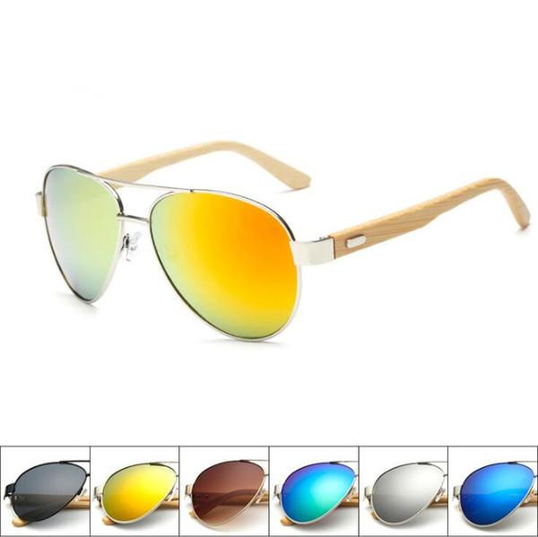 10 metal Pilot Bambu Güneş Gözlüğü Kadın Erkek Degrade Aynalı Güneş Gözlükleri Anti UV Gözlük Ahşap Gözlük 1510 Gözlük sürücü Oculos de sol