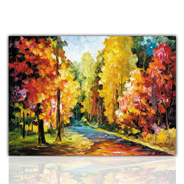 Colorful Chinese Oil Painting Beautiful Tree Landscape Picture Lin Yin Path Spray Hand Painted Frameless Home Decor 20xy bb