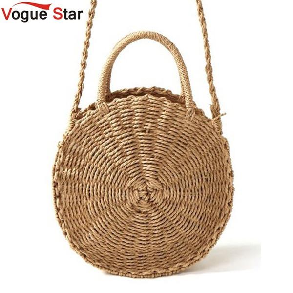 2019 Fashion Handmade Rattan Woven Round Handbag Vintage Retro Straw Rope Knitted Messenger Bag Lady Fresh Paper Bag Summer Beach Tote L36