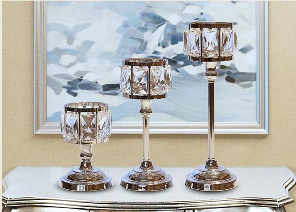 Cup shape Modern Iron Crystle candle holder, 1-arm candelabra with 1 free candles, decorative candle stick CD04
