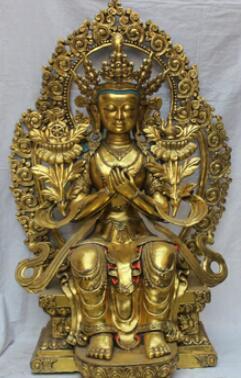 """43"""" Huge 43"""" Huge Tibetan Temple Buddhism Bronze Gold Maitreya Bodhisattva Buddha Statue"""