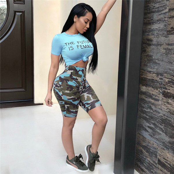 THE FUTURE IS FEMALE Printed Women Tracksuit Summer Short Sleeve T-shirt Crop Top Camouflage Shorts Knee Pants 2pcs Clothing set Casual Suit