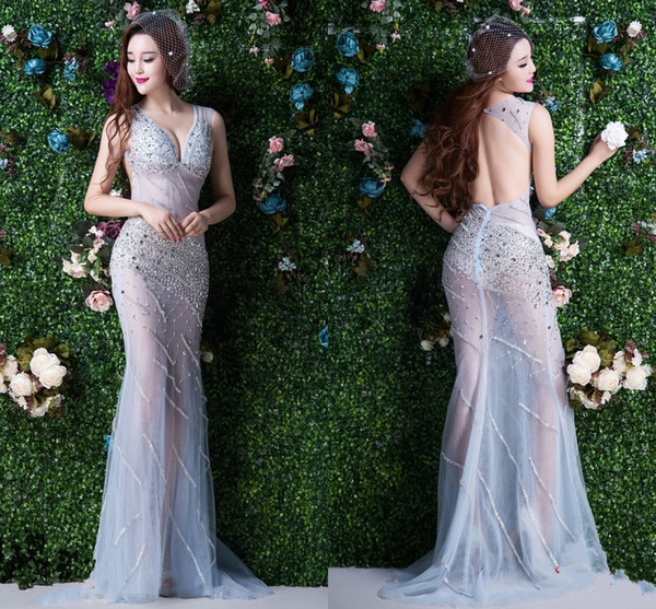 Sexy Backless See-Through Party Dresses V Collar Diamond Long Tail Slim Models Night Club Upscale Prom Dresses Evening Gowns DH1185