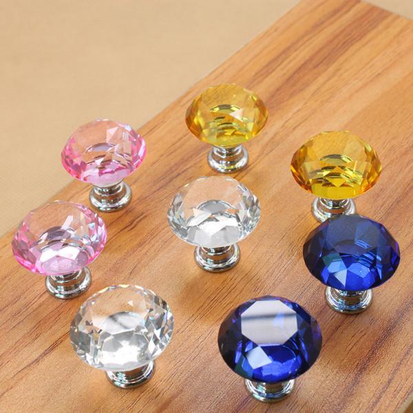 30mm Diamond Crystal Door Knobs Perillas de cajón de vidrio Kitchen Cabinet Furniture Handle Knob Screw Maneja y jala TC180828