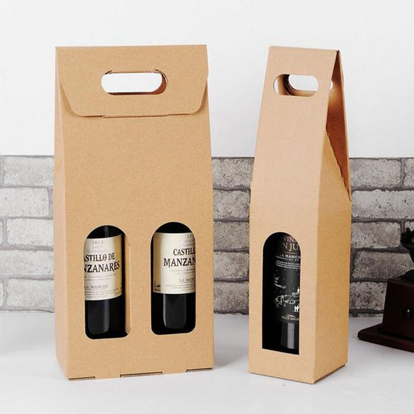 100pcs Portable Red Wine Box Gift Wrap Package Single Bottle Kraft Paper Storage Bag For Wedding Party Favor ZA5004
