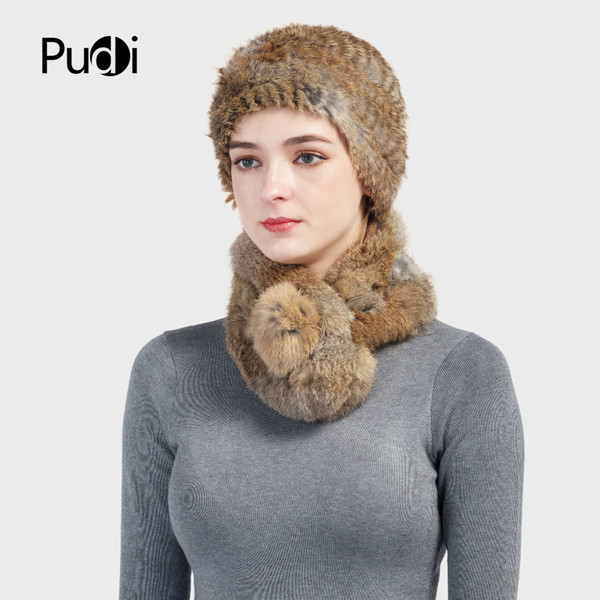 Pudi SF724 women's real Rex rabbit fur hats&scarves sets brand new 2017 genuine fur hat scarf sets 3 colors Winter Cap