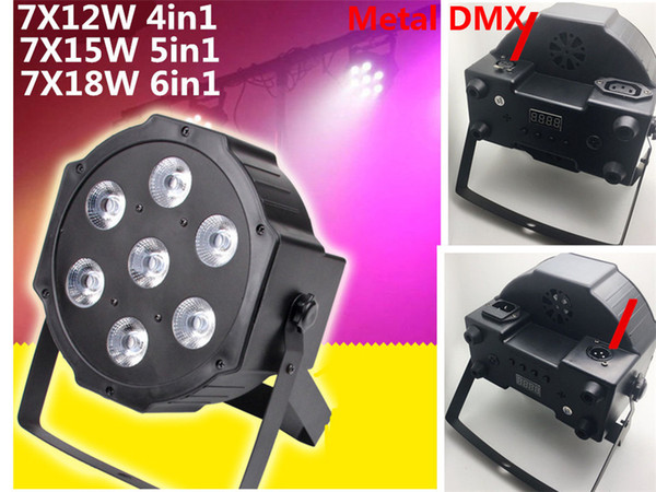 RGBW RGBWA 7x18W LED Flat SlimPar RGBWA UV Light 6in1 LED DJ Wash Light Stage dmx light lamp dmx controller 6/10 channes