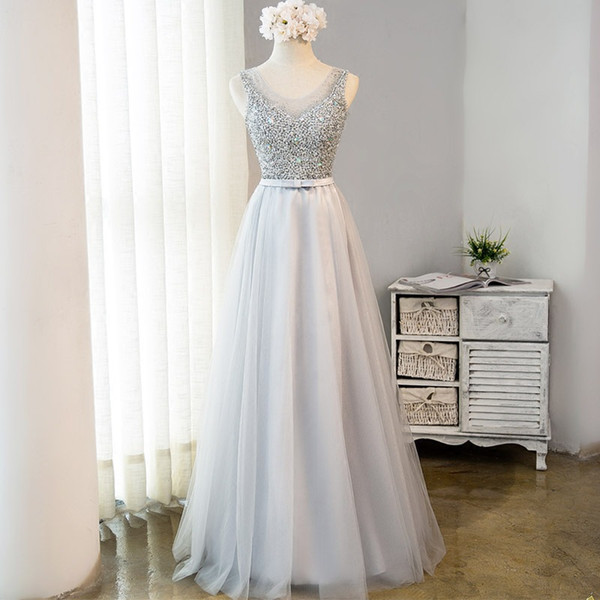 Elegant Gray Beaded Sequined Long Dresses For Prom Gown Shiny Crystal Prom Dresses Sexy Key Hole Back Gala Evening Dress Formal Party Gowns