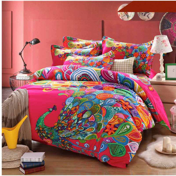 Bohemian Peacock Bedding Set 4pcs Boho Style Duvet Cover Bedsheet Queen King Size Bedclothes Thicken Soft Sanded Cotton Bed Sets