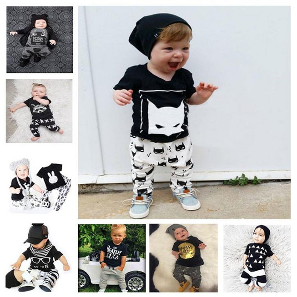 2018 Kids Clothing Sets Two-piece 47 Designs Summer for Boys Girls Baby Clothes Short Sleeve Cotton Shirt Pants Shorts 6M-7T