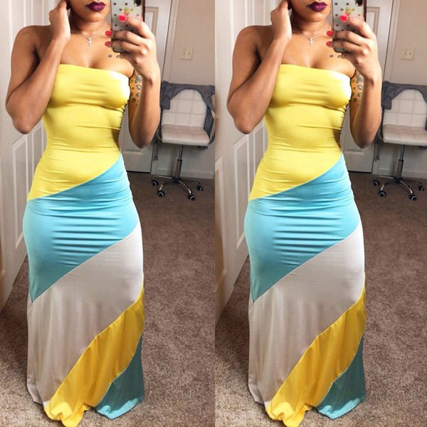 Sexy envolto peito amarelo azul branco cor correspondência confortável vestido de roupas das mulheres das mulheres longos vestidos casuais saias