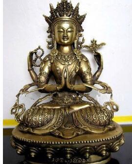 28 см * / разработать китайский тибетский буддизм латунь Бодхисаттва четыре руки Кван Инь статуя Будды