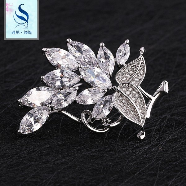 Korean Edition Clothing Full Dress Accessories Alloy Brooch Set Copper Plating Real Gold Chest Flower Ornament Product Women's Style A911