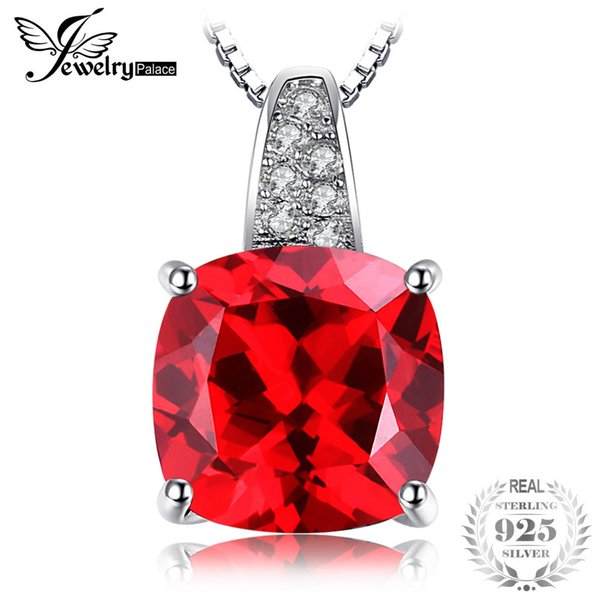 JewelryPalace 4.99ct Pigeon Blood Red Ruby Pendant 925 Sterling Silver Square Cut Engagement Wedding Jewelry Without a chain S18101308