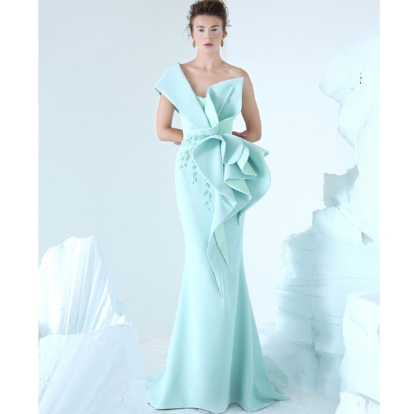 Azzi&Osta 2019 Mermaid Evening Dress One Shoulder Embroidery Ruffles Ruched Party Dress Glamorous Dubai Fashion Floor Length Prom Dress