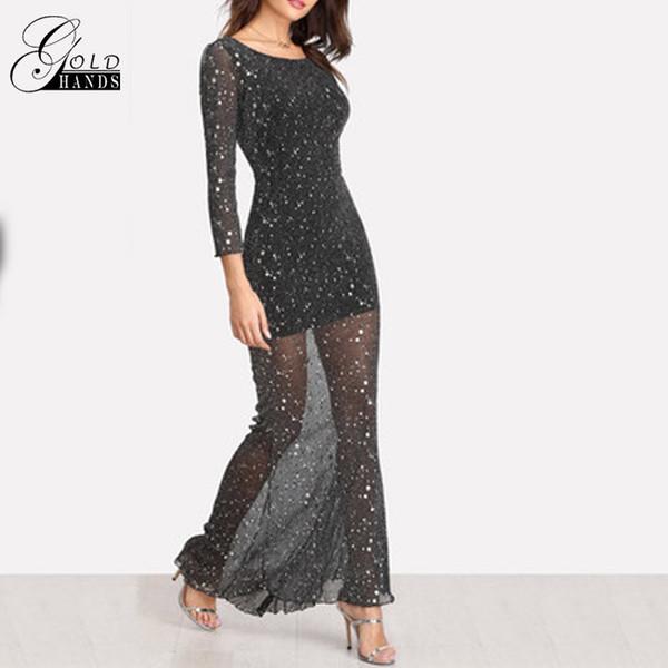 Золотые руки мода женщины весна осень спинки платье с длинным рукавом Sexy выдалбливают длиной до пола платье блеск Гренадин платья