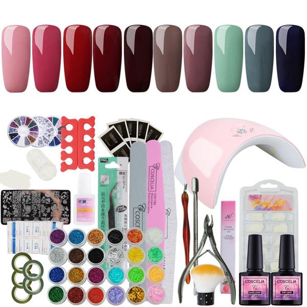All For Nail Art Base Tool 36W UV Lamp Color Soak Off Gel Nail Top Coat Gel Polish Kit Manicure Set & Kits Polish Set