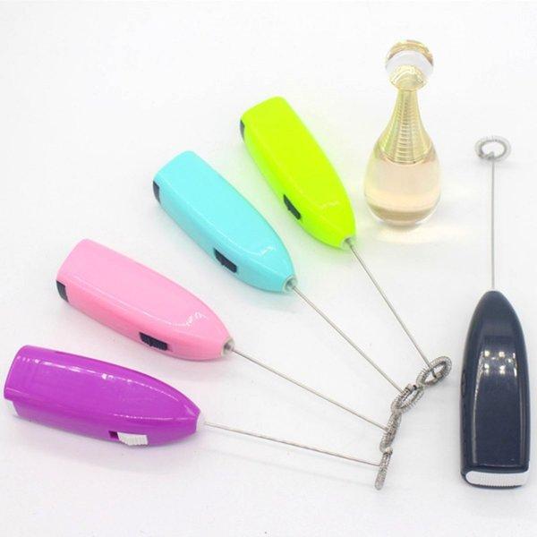 Mini batteur à oeufs électrique Poignée en plastique pratique Mélangeur à café Facile à nettoyer Batteur à oeufs en acier inoxydable coloré 2 72nx BB