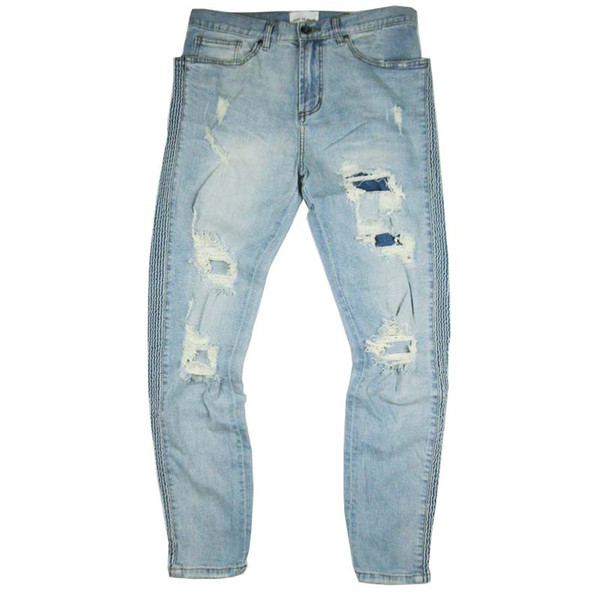 2018 high quality Men Fashion Vintage Color Block stripe Straight Ripped Inked Elastic High Street Hole Jeans blue Jeans