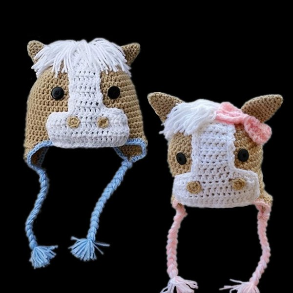 Novelty Adorable Horse Hat,Handmade Crochet Baby Boy Girl Twins Animal Earflap Hat,Kids Winter Hat,Infant Toddler Pphoto prop