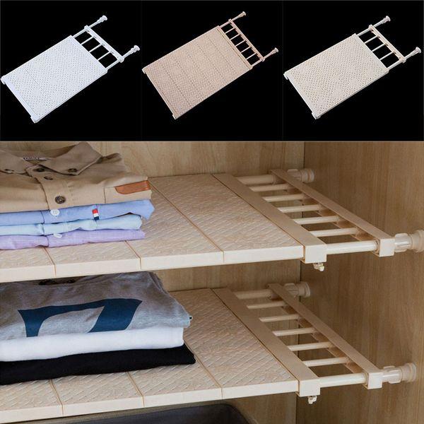 Adjustable Closet Organizer Storage Shelf Wall Mount Kitchen Cabinet Rack Space Saving Wardrobe Shelves Cabinet Holders Free DHL WX9-1080