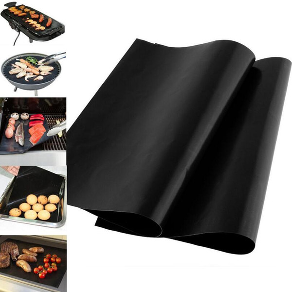 top popular 33*40 cm BBQ Grill Liner Mat Reusable Barbecue Heat Resistant Grill Mat Sheet Microwave Oven Cooking Mat Cover LX3470 2019