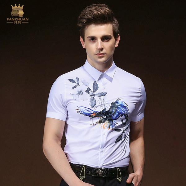 FANZHUAN Бесплатная доставка новый 2018 мужской мужской одежды человек лето оригинальный дизайн с короткими рукавами птица печатных рубашка блузка 822011